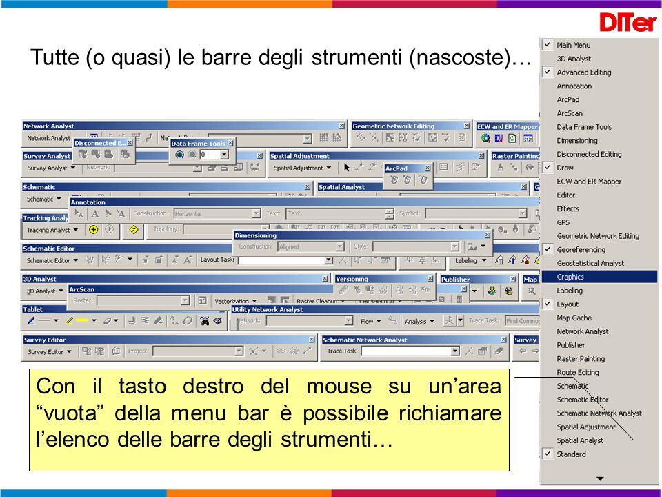 Tutte (o quasi) le barre degli strumenti (nascoste)… Con il tasto destro del mouse su unarea vuota della menu bar è possibile richiamare lelenco delle