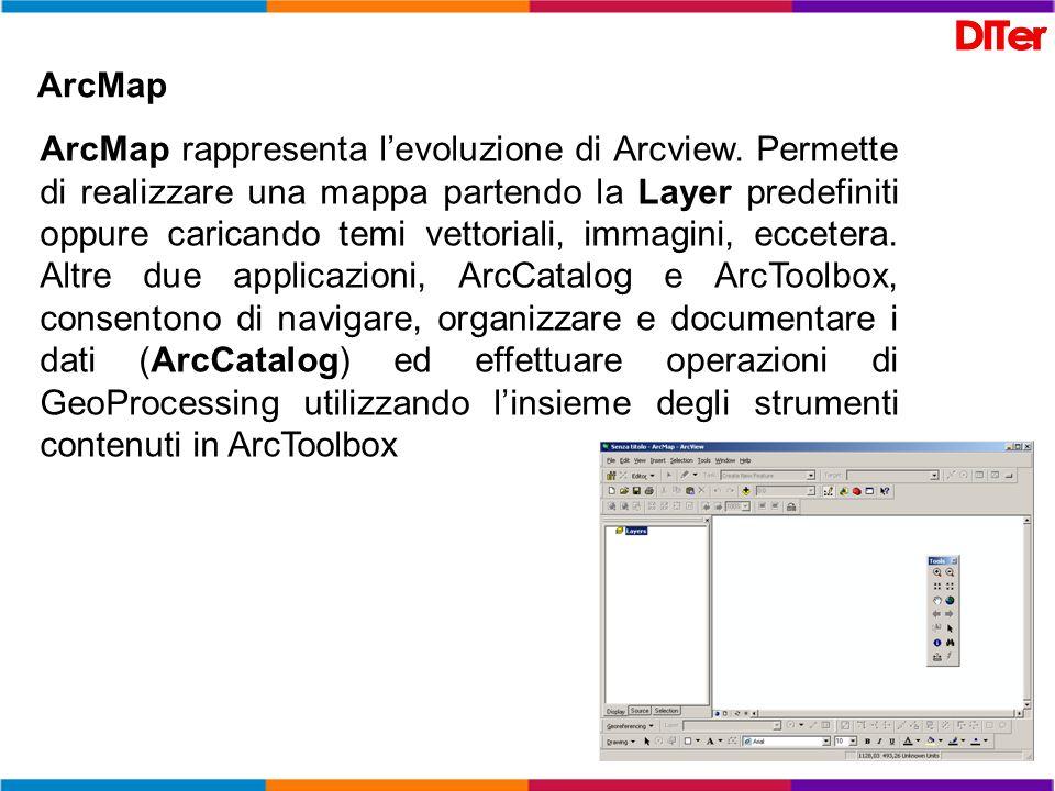 ArcMap ArcMap rappresenta levoluzione di Arcview. Permette di realizzare una mappa partendo la Layer predefiniti oppure caricando temi vettoriali, imm