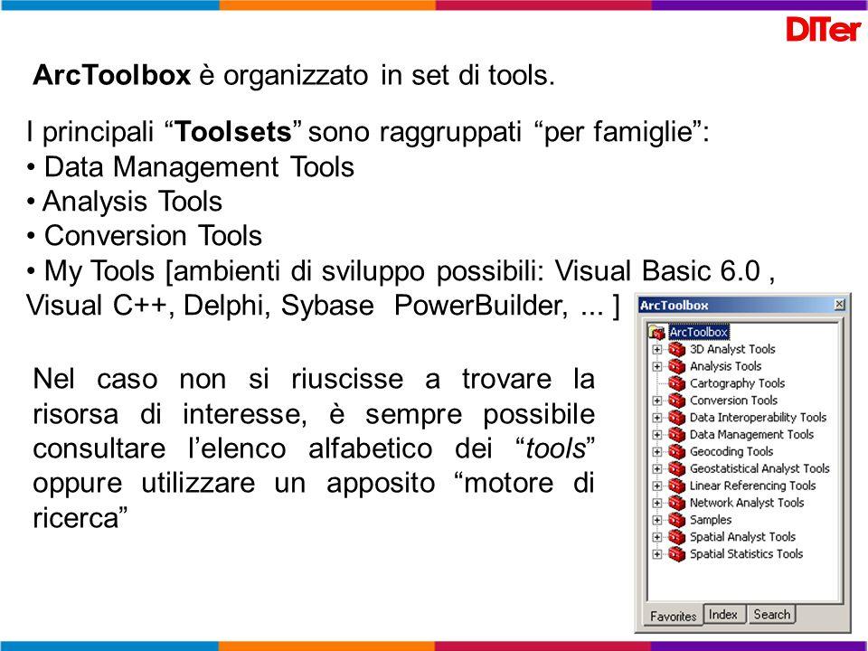 ArcToolbox è organizzato in set di tools. I principali Toolsets sono raggruppati per famiglie: Data Management Tools Analysis Tools Conversion Tools M