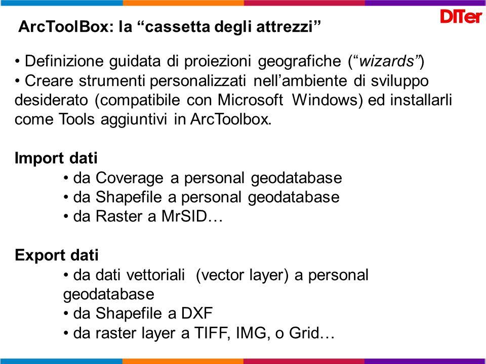 ArcToolBox: la cassetta degli attrezzi Definizione guidata di proiezioni geografiche (wizards) Creare strumenti personalizzati nellambiente di svilupp