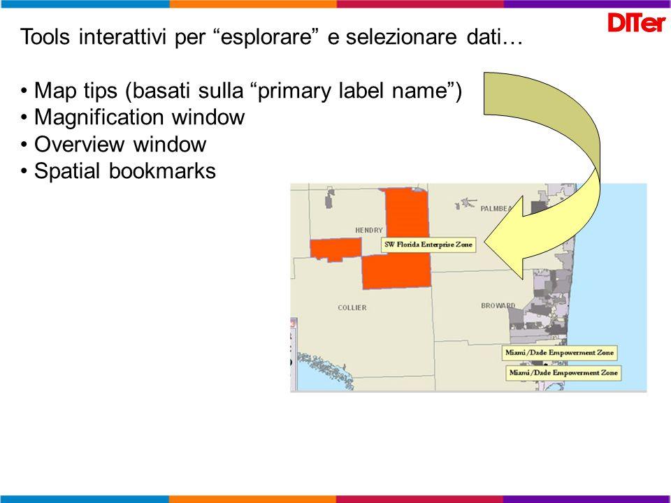 Tools interattivi per esplorare e selezionare dati… Map tips (basati sulla primary label name) Magnification window Overview window Spatial bookmarks