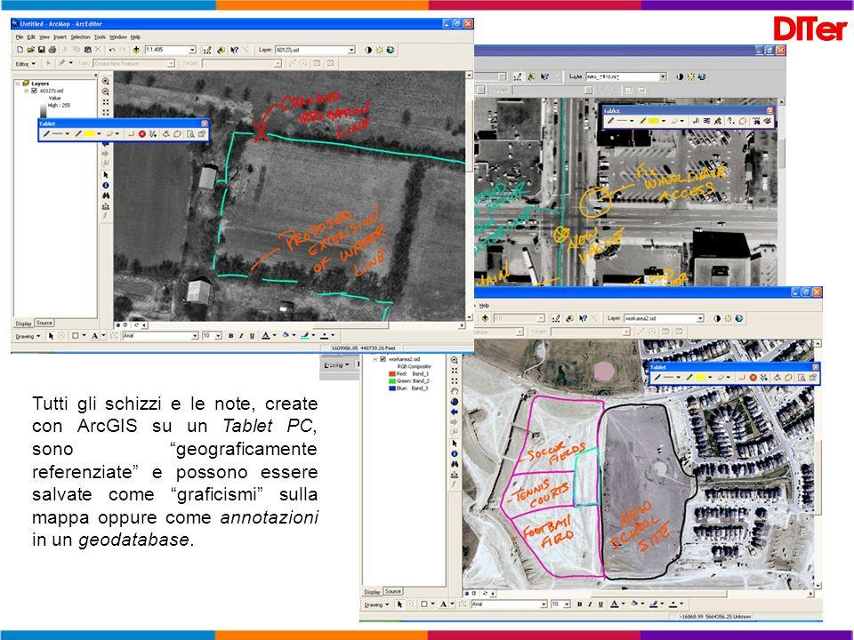 Tutti gli schizzi e le note, create con ArcGIS su un Tablet PC, sono geograficamente referenziate e possono essere salvate come graficismi sulla mappa
