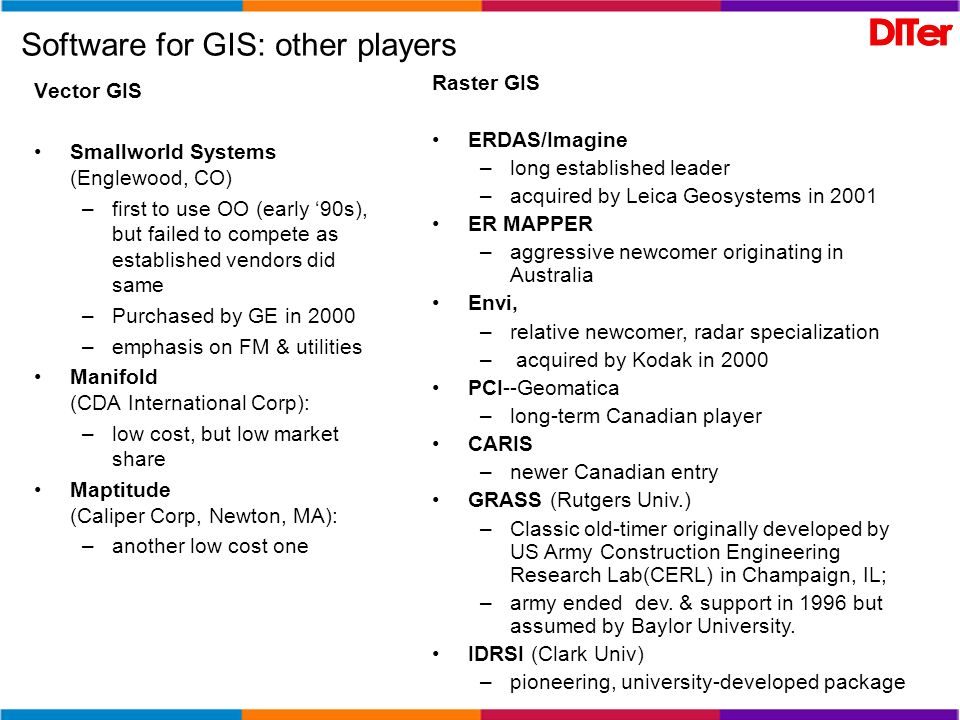 Open Source GIS Un parziale elenco delle risorse Open Source / Free GIS può essere trovato alle seguenti URL: http://www.freegis.org/ http://opensourcegis.org/ http://www.gfoss.it/drupal/ http://geonetwork-opensource.org/