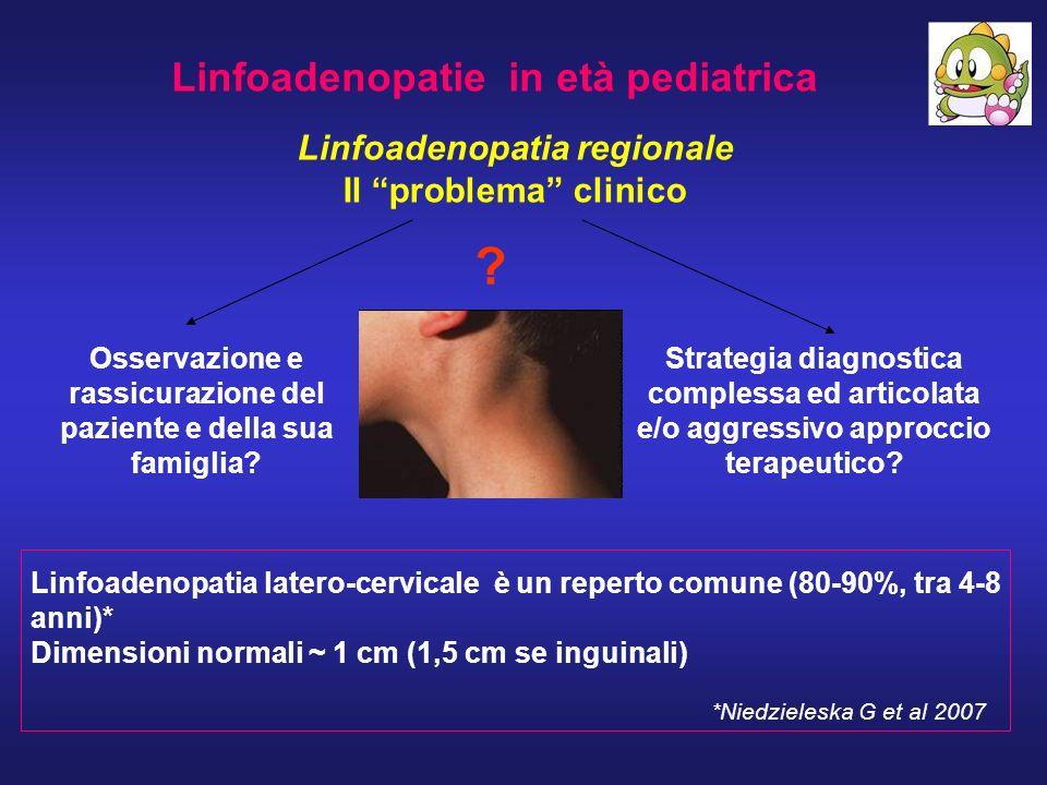 Linfoadenopatie in età pediatrica Linfoadenopatia regionale Il problema clinico Osservazione e rassicurazione del paziente e della sua famiglia? Strat