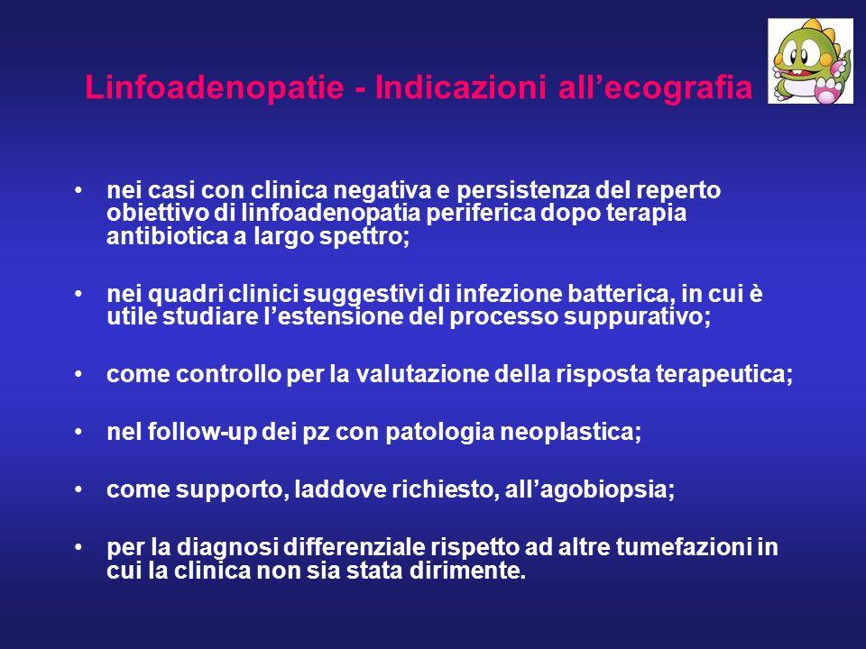 Linfoadenopatie - Indicazioni allecografia nei casi con clinica negativa e persistenza del reperto obiettivo di linfoadenopatia periferica dopo terapi