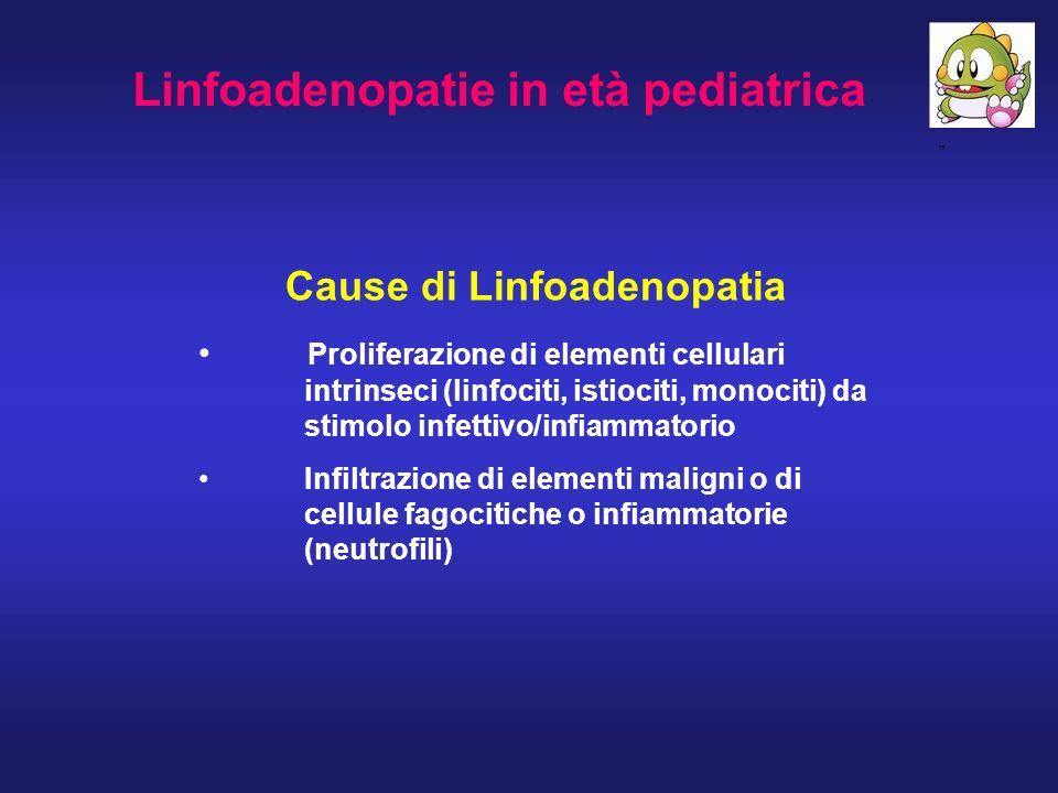 Linfoadenopatie in età pediatrica Cause di Linfoadenopatia Proliferazione di elementi cellulari intrinseci (linfociti, istiociti, monociti) da stimolo