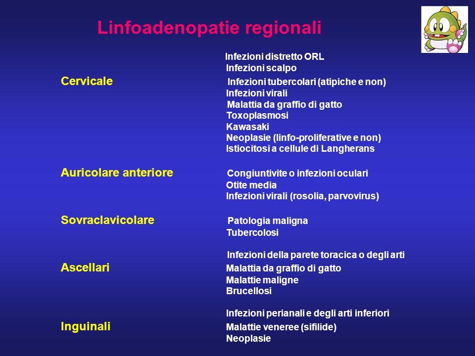 Linfoadenopatie regionali Infezioni distretto ORL Infezioni scalpo Cervicale Infezioni tubercolari (atipiche e non) Infezioni virali Malattia da graff