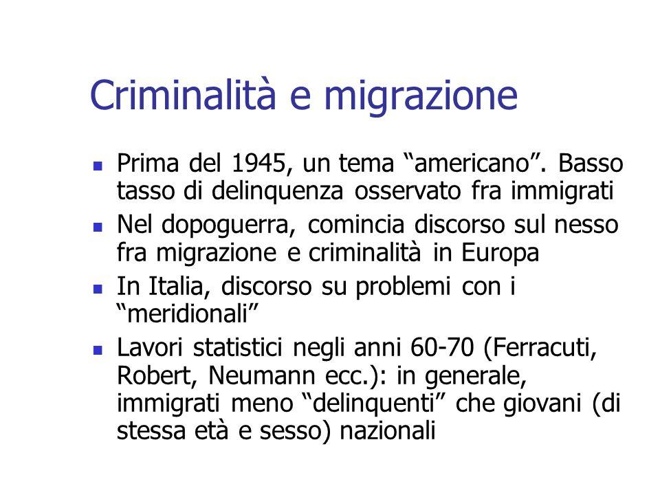 Criminalità e migrazione Prima del 1945, un tema americano. Basso tasso di delinquenza osservato fra immigrati Nel dopoguerra, comincia discorso sul n