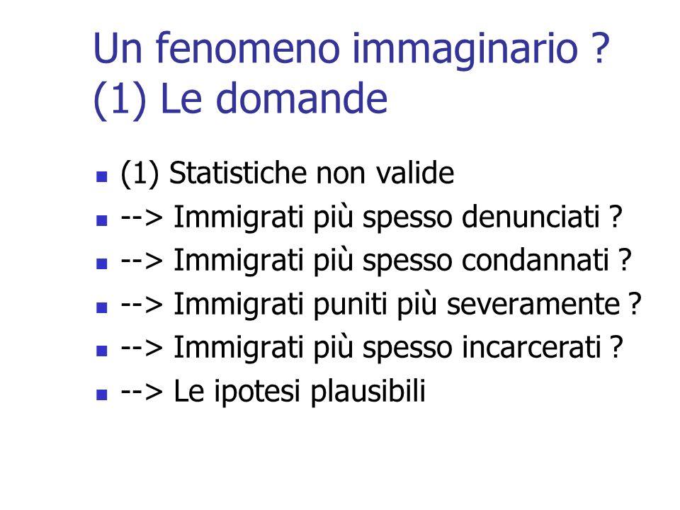 Un fenomeno immaginario ? (1) Le domande (1) Statistiche non valide --> Immigrati più spesso denunciati ? --> Immigrati più spesso condannati ? --> Im