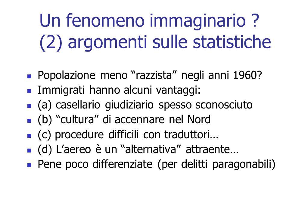 Un fenomeno immaginario ? (2) argomenti sulle statistiche Popolazione meno razzista negli anni 1960? Immigrati hanno alcuni vantaggi: (a) casellario g