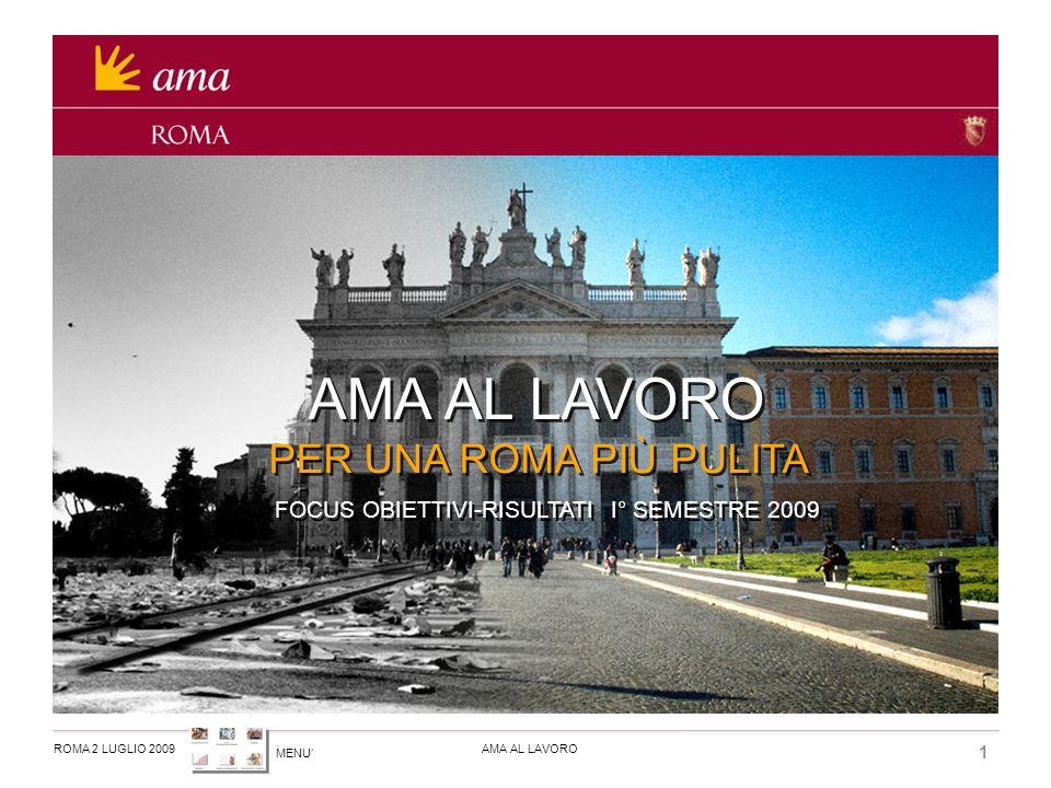MENU ROMA 2 LUGLIO 2009AMA AL LAVORO 1 PER UNA ROMA PIÙ PULITA FOCUS OBIETTIVI-RISULTATI I° SEMESTRE 2009