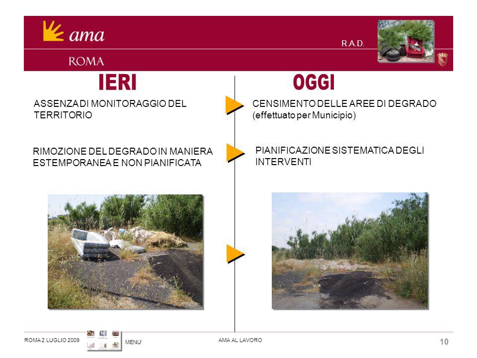 MENU ROMA 2 LUGLIO 2009AMA AL LAVORO 10 R.A.D.