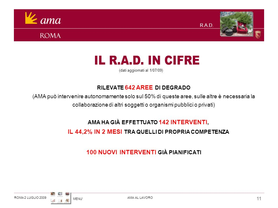 MENU ROMA 2 LUGLIO 2009AMA AL LAVORO 11 R.A.D.