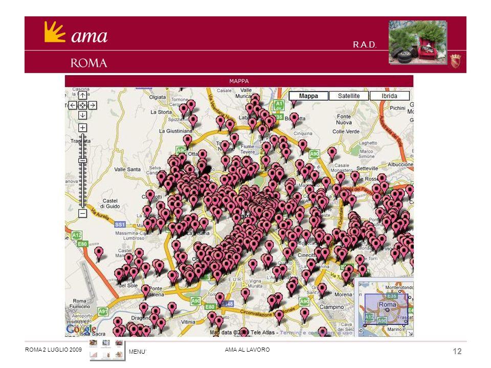 MENU ROMA 2 LUGLIO 2009AMA AL LAVORO 12 R.A.D.