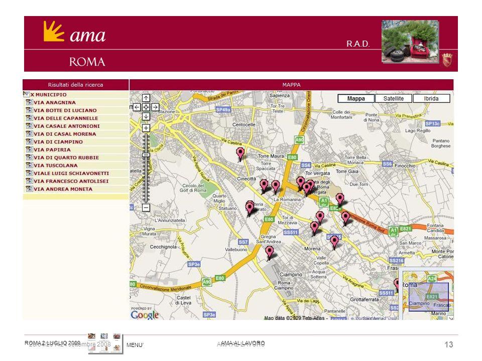 MENU ROMA 2 LUGLIO 2009AMA AL LAVORO 28/04/201424 settembre 2008 13 AMA AL LAVORO R.A.D.