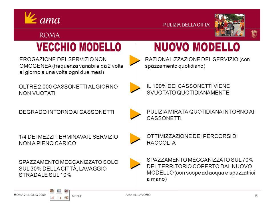 MENU ROMA 2 LUGLIO 2009AMA AL LAVORO 7 PULIZIA DELLA CITTA IL NUOVO MODELLO E GIA ATTIVO IN 7 MUNICIPI