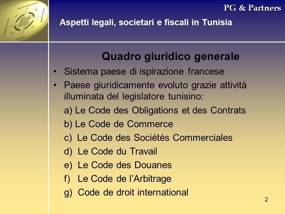 2 PG & Partners Quadro giuridico generale Sistema paese di ispirazione francese Paese giuridicamente evoluto grazie attività illuminata del legislator