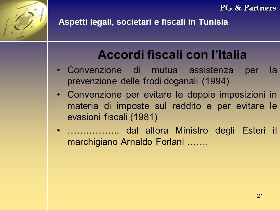 21 PG & Partners Accordi fiscali con lItalia Convenzione di mutua assistenza per la prevenzione delle frodi doganali (1994) Convenzione per evitare le