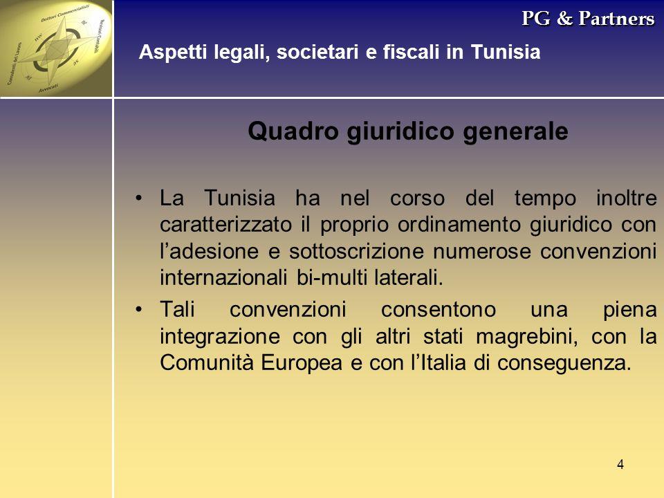 4 PG & Partners Quadro giuridico generale La Tunisia ha nel corso del tempo inoltre caratterizzato il proprio ordinamento giuridico con ladesione e so