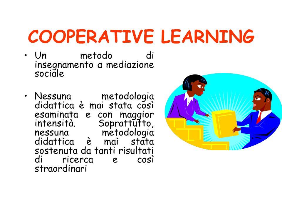 COOPERATIVE LEARNING Un metodo di insegnamento a mediazione sociale Nessuna metodologia didattica è mai stata così esaminata e con maggior intensità.