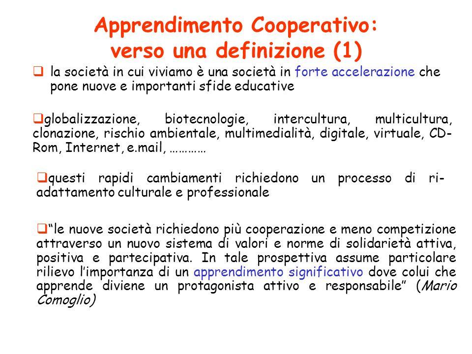 Apprendimento Cooperativo: verso una definizione (1) la società in cui viviamo è una società in forte accelerazione che pone nuove e importanti sfide