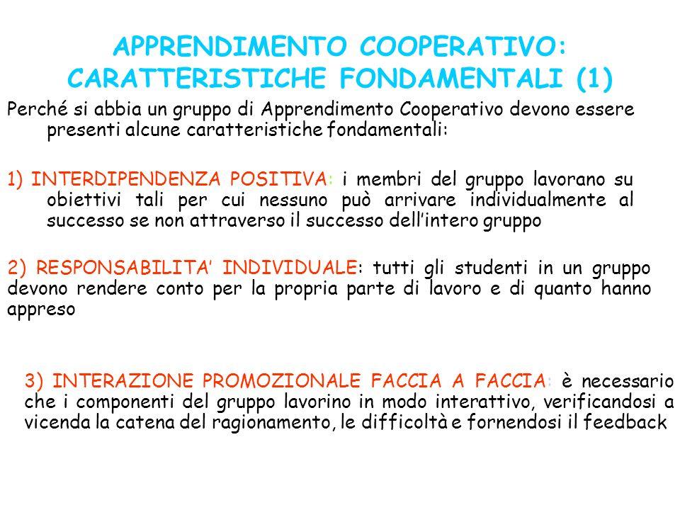 APPRENDIMENTO COOPERATIVO: CARATTERISTICHE FONDAMENTALI (1) Perché si abbia un gruppo di Apprendimento Cooperativo devono essere presenti alcune carat