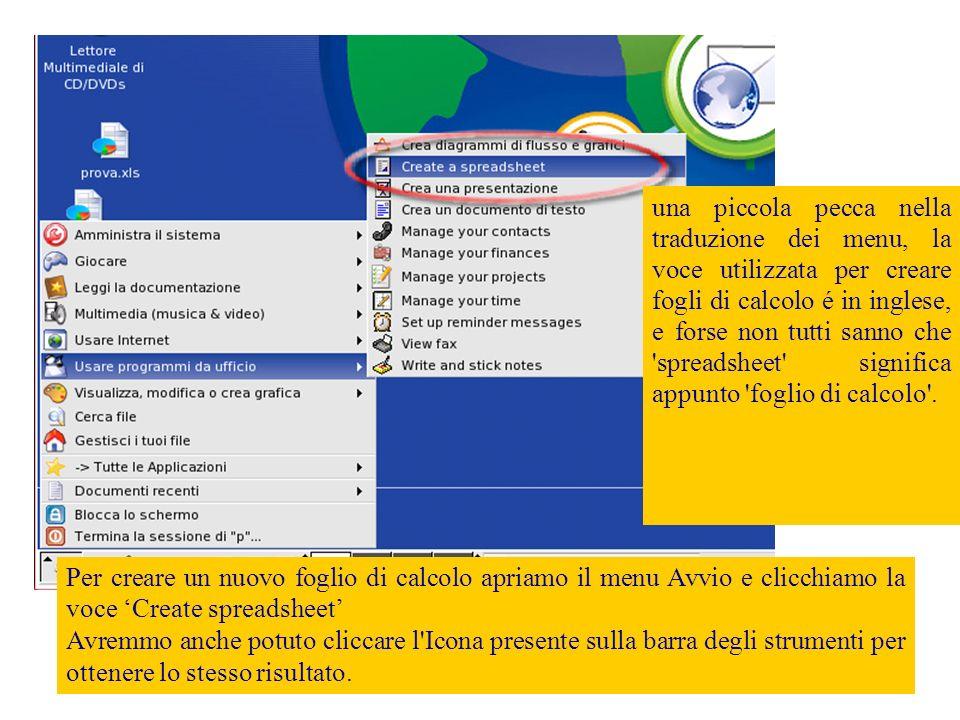 Viene avviato OpenOffice in modalità foglio di calcolo.