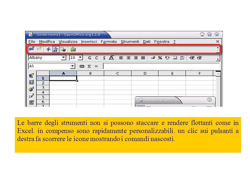 Alcune differenze Il foglio di calcolo di OpenOffice e Microsoft Excel sono molto simili vediamo alcune delle differenze, nel normale utilizzo, fra Excel e OpenOffice.