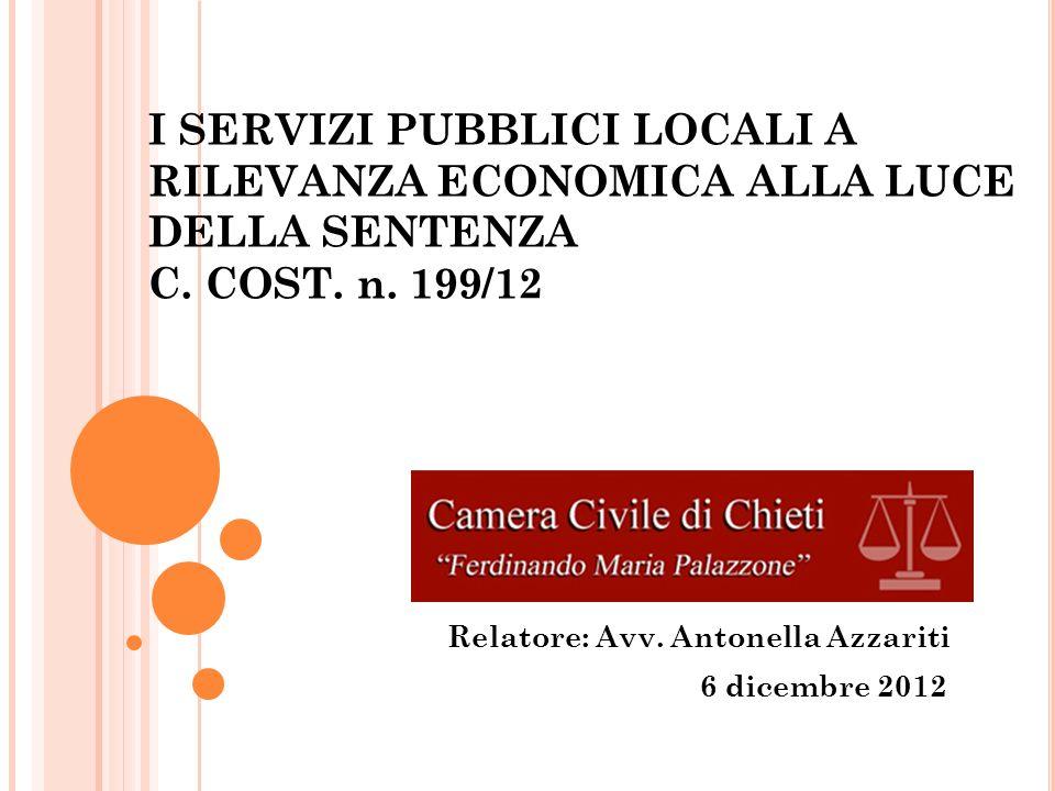 I SERVIZI PUBBLICI LOCALI A RILEVANZA ECONOMICA ALLA LUCE DELLA SENTENZA C.