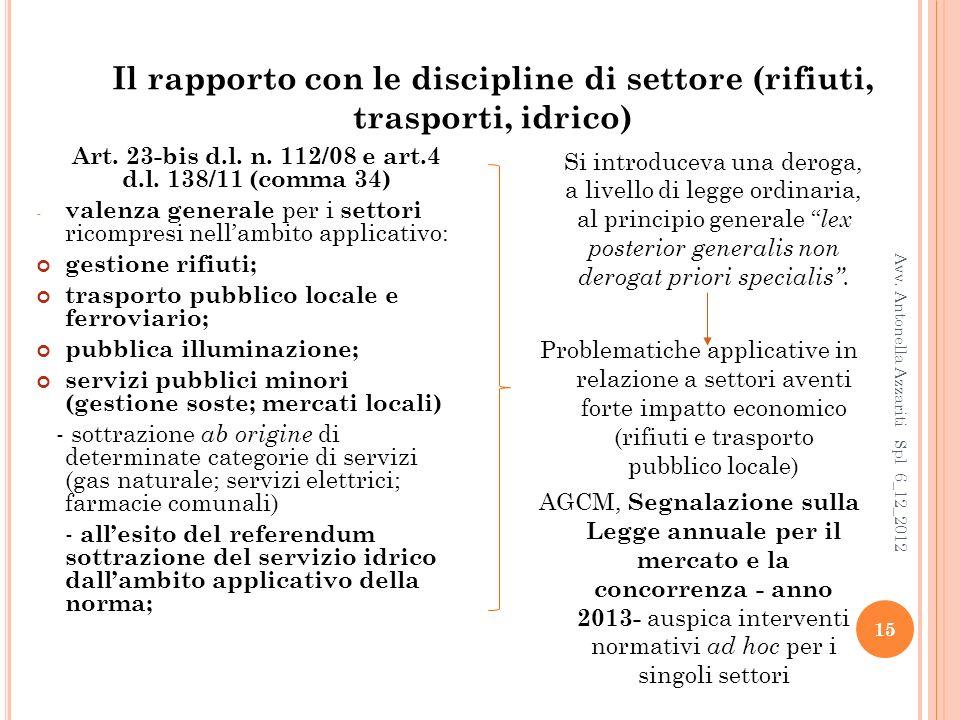 15 Il rapporto con le discipline di settore (rifiuti, trasporti, idrico) Art.