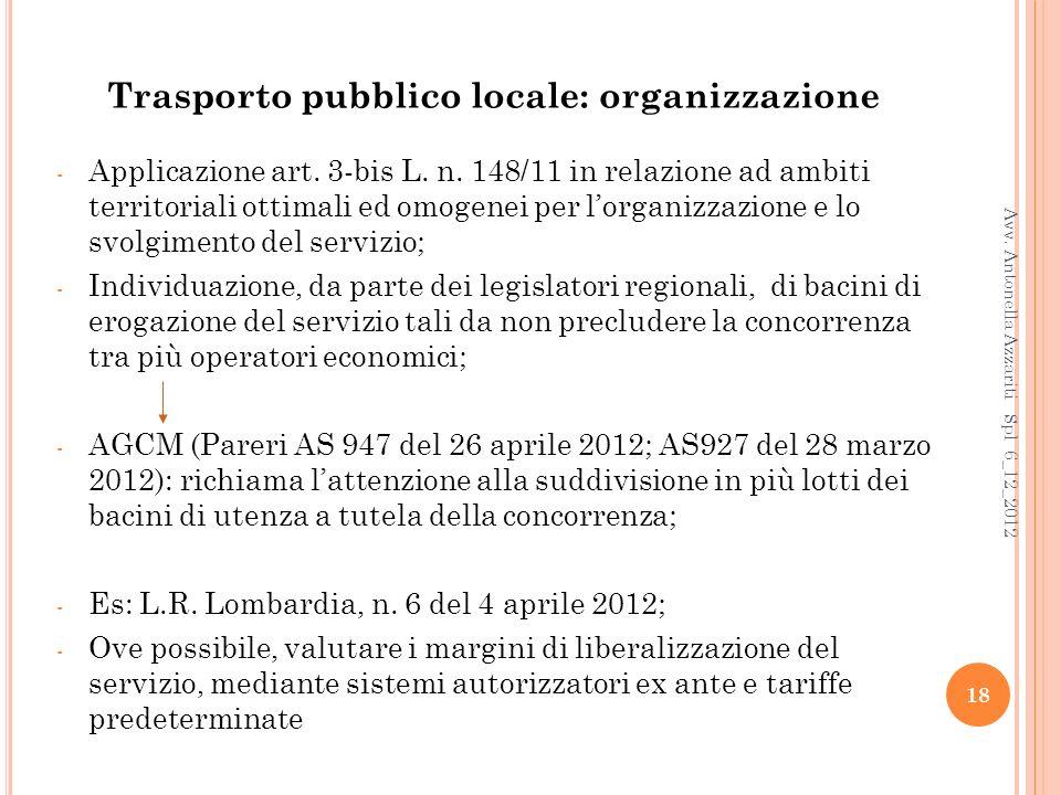 18 Trasporto pubblico locale: organizzazione - Applicazione art.