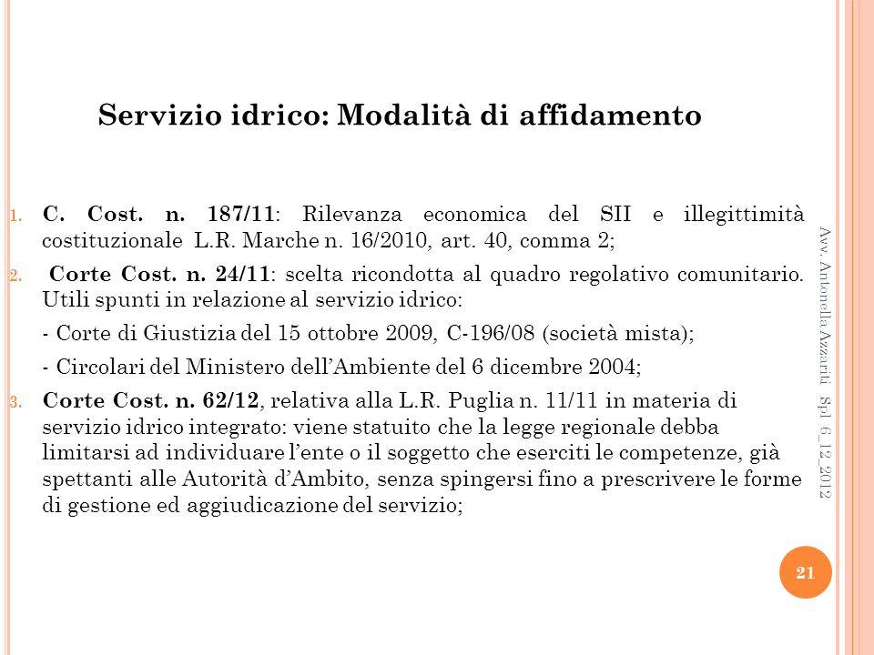 Servizio idrico: Modalità di affidamento 1.C. Cost.