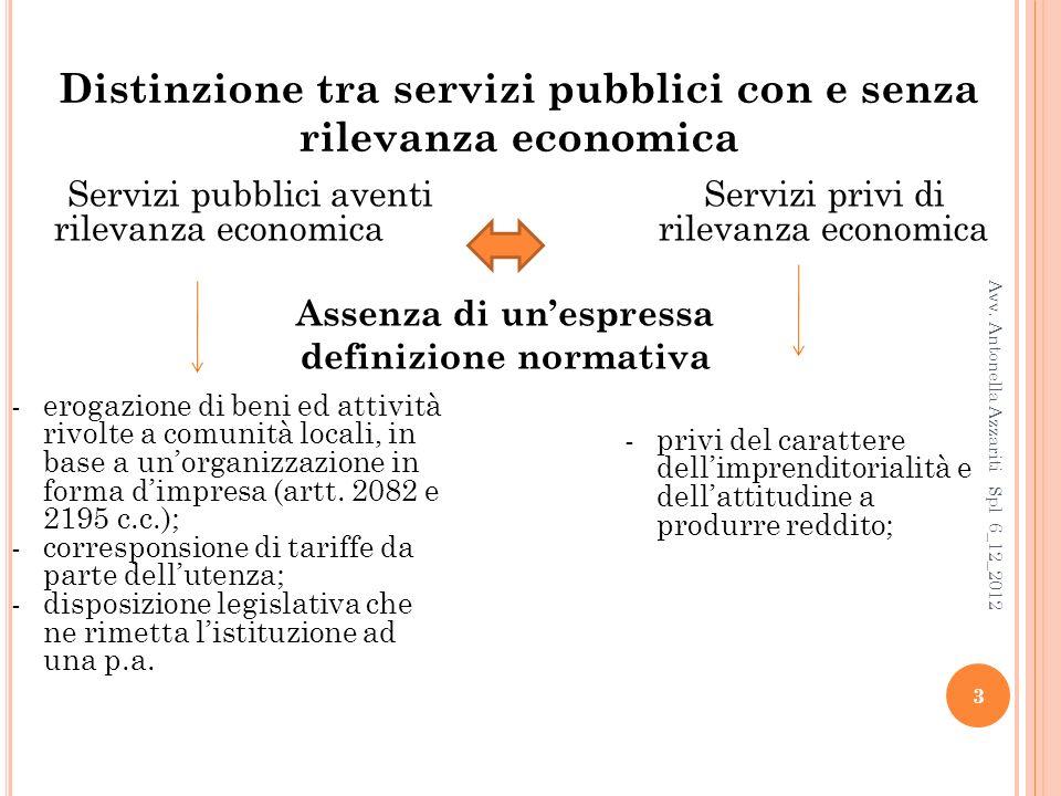 Distinzione tra servizi pubblici con e senza rilevanza economica Servizi pubblici aventiServizi privi di rilevanza economicarilevanza economica Assenza di unespressa definizione normativa 3 Avv.