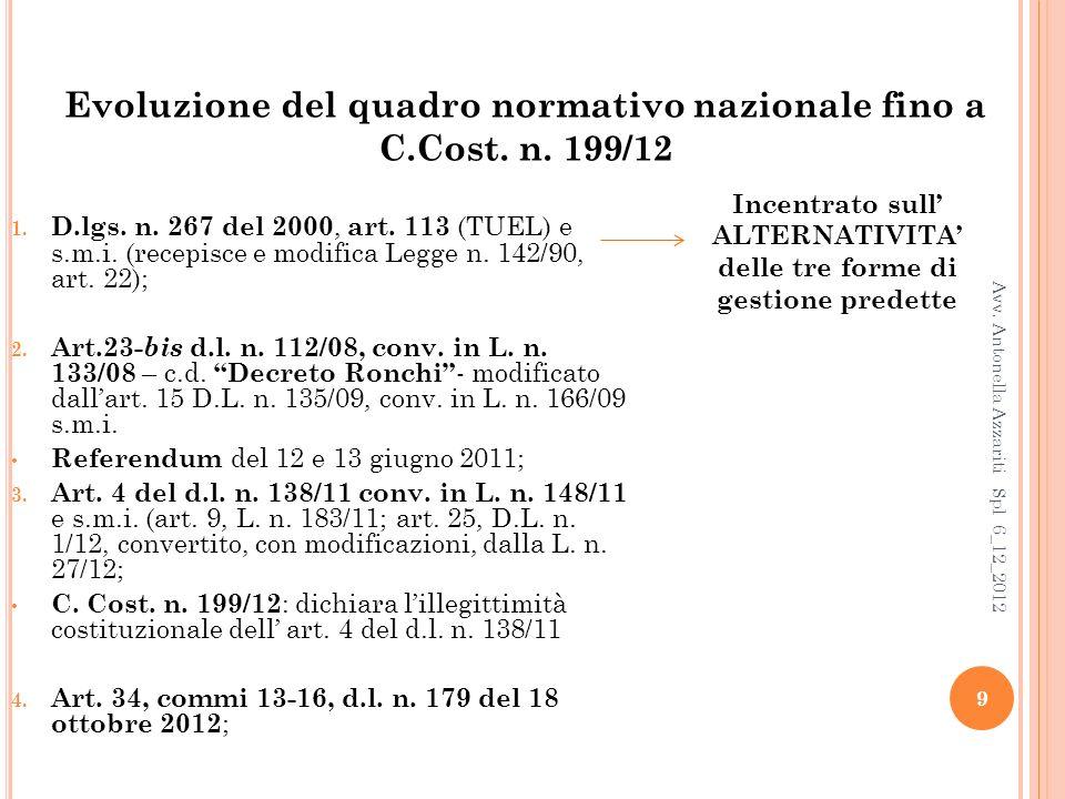 Servizio idrico (cenni) Referendum abrogativo del 12 e 13 giugno 2011 a) Sottrazione dallambito applicativo dellart.