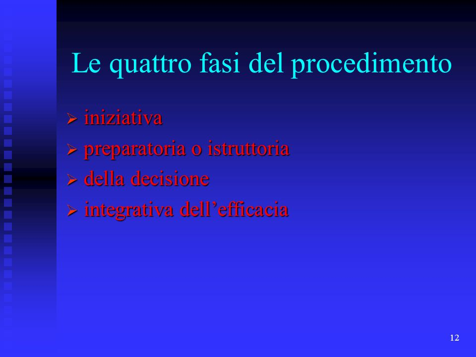 12 Le quattro fasi del procedimento iniziativa iniziativa preparatoria o istruttoria preparatoria o istruttoria della decisione della decisione integr