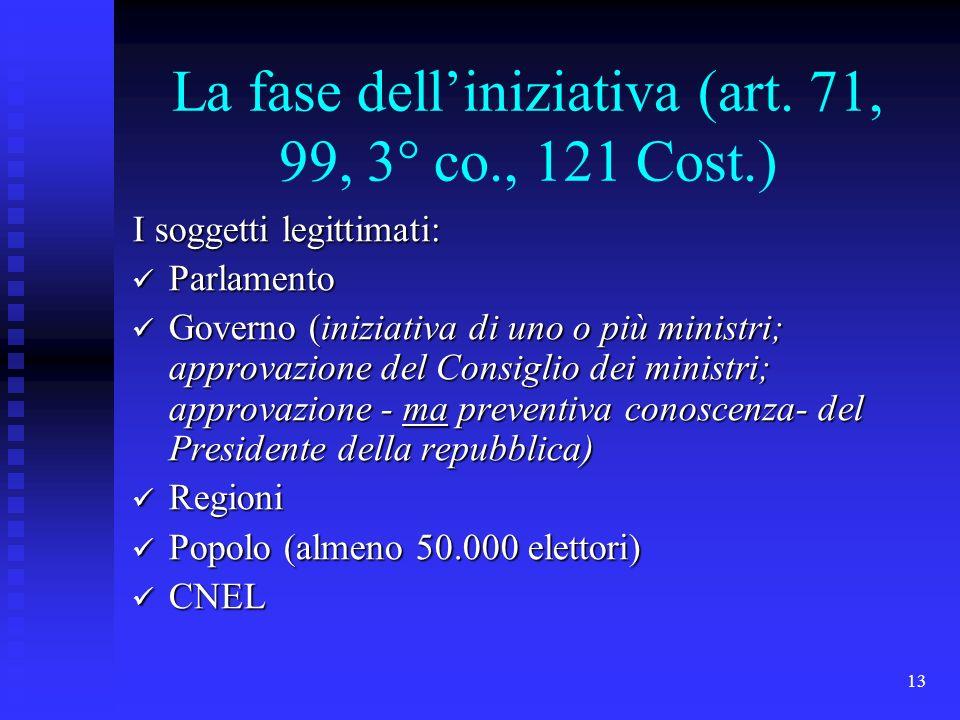 13 La fase delliniziativa (art. 71, 99, 3° co., 121 Cost.) I soggetti legittimati: Parlamento Parlamento Governo (iniziativa di uno o più ministri; ap