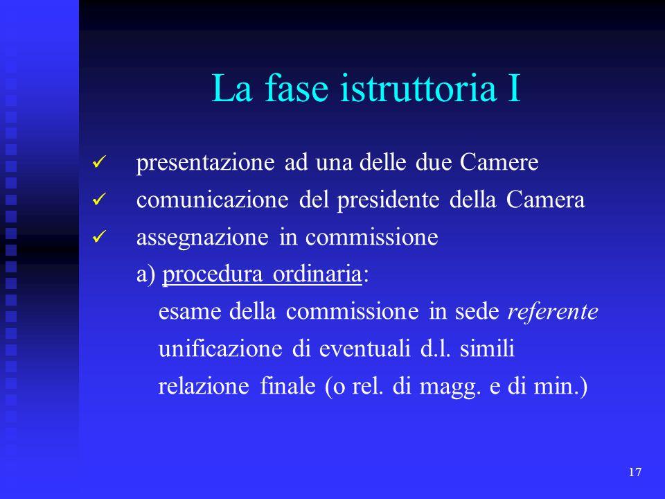 17 La fase istruttoria I presentazione ad una delle due Camere comunicazione del presidente della Camera assegnazione in commissione a) procedura ordi
