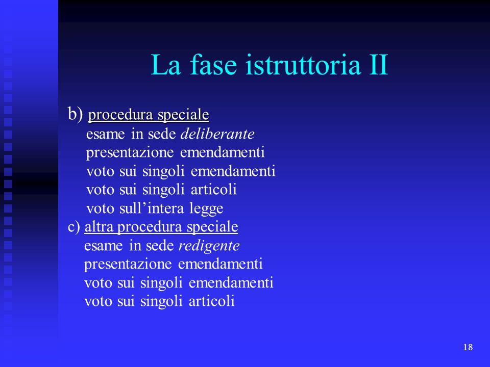 18 La fase istruttoria II procedura speciale b) procedura speciale esame in sede deliberante presentazione emendamenti voto sui singoli emendamenti vo
