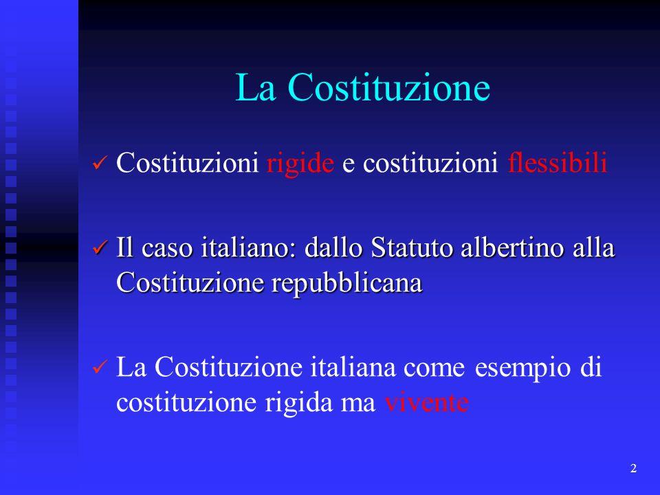 2 La Costituzione Costituzioni rigide e costituzioni flessibili Il caso italiano: dallo Statuto albertino alla Costituzione repubblicana Il caso itali