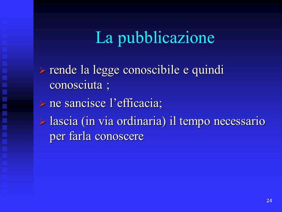 24 La pubblicazione rende la legge conoscibile e quindi conosciuta ; rende la legge conoscibile e quindi conosciuta ; ne sancisce lefficacia; ne sanci