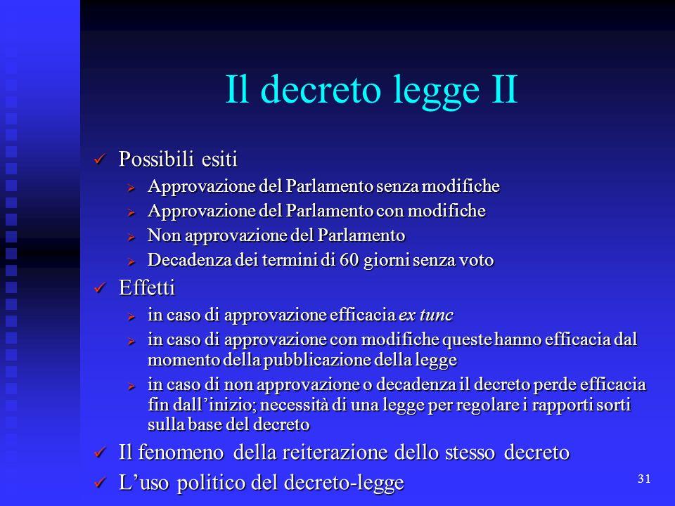 31 Il decreto legge II Possibili esiti Possibili esiti Approvazione del Parlamento senza modifiche Approvazione del Parlamento senza modifiche Approva
