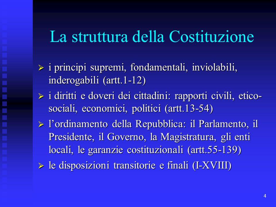 4 La struttura della Costituzione i principi supremi, fondamentali, inviolabili, inderogabili (artt.1-12) i principi supremi, fondamentali, inviolabil