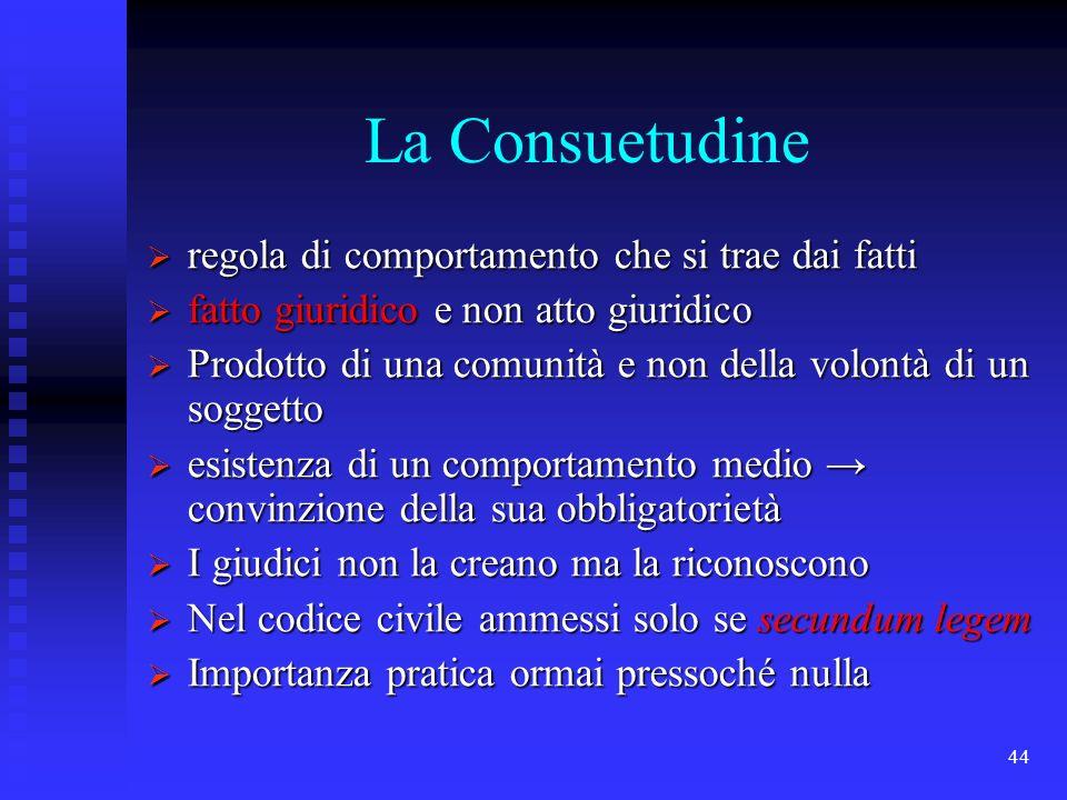44 La Consuetudine regola di comportamento che si trae dai fatti regola di comportamento che si trae dai fatti fatto giuridico e non atto giuridico fa