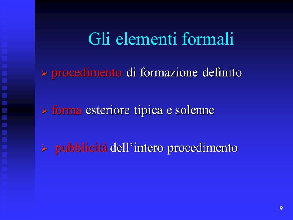 9 Gli elementi formali procedimento di formazione definito procedimento di formazione definito forma esteriore tipica e solenne forma esteriore tipica