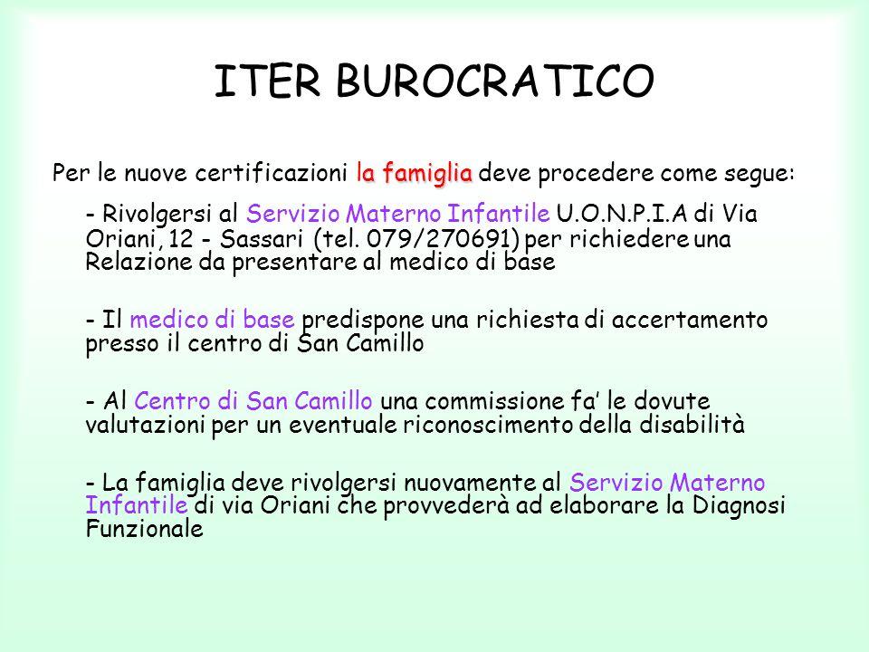 ITER BUROCRATICO a famiglia Per le nuove certificazioni la famiglia deve procedere come segue: - Rivolgersi al Servizio Materno Infantile U.O.N.P.I.A