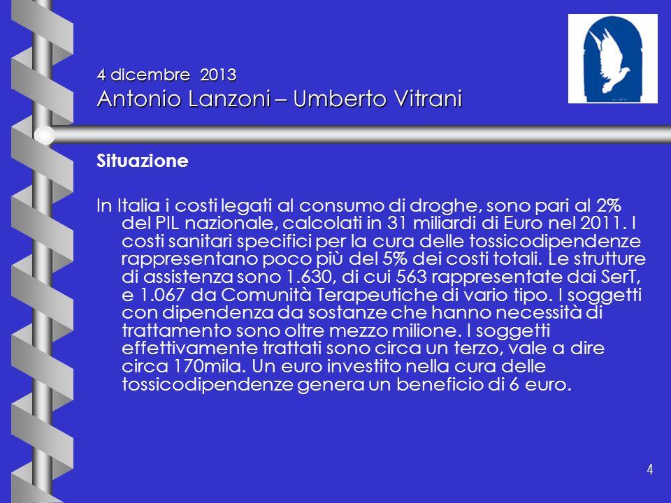 4 4 4 dicembre 2013 Antonio Lanzoni – Umberto Vitrani Situazione In Italia i costi legati al consumo di droghe, sono pari al 2% del PIL nazionale, cal