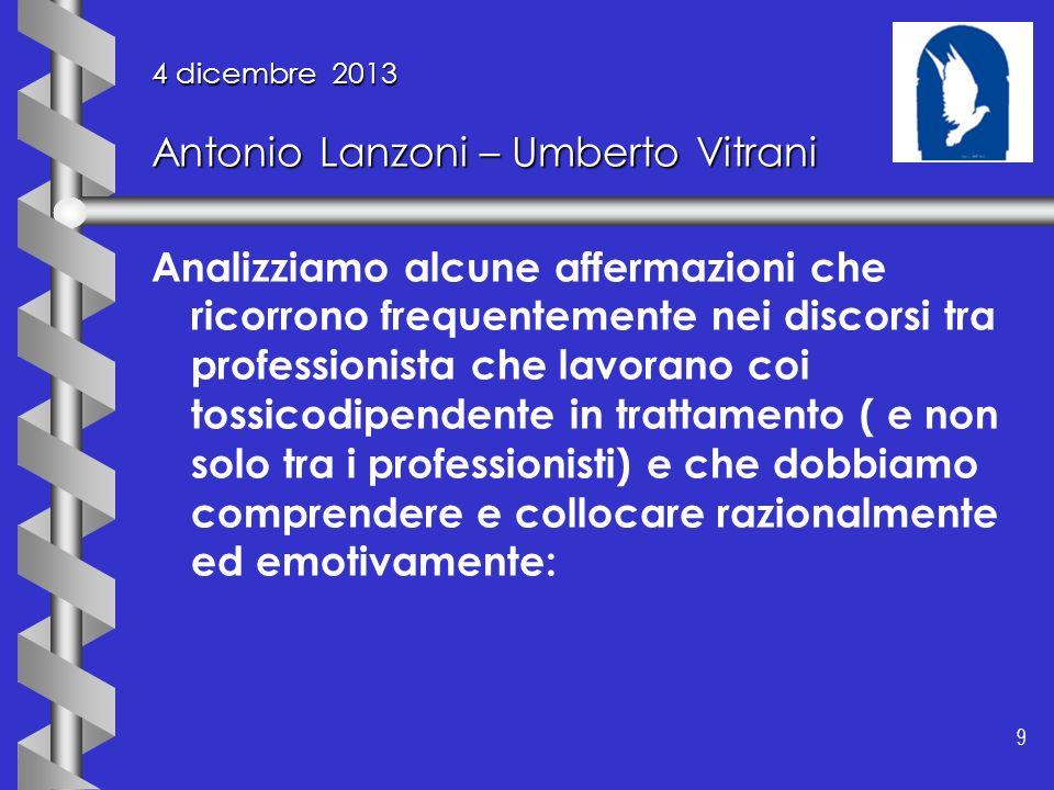 9 9 4 dicembre 2013 Antonio Lanzoni – Umberto Vitrani Analizziamo alcune affermazioni che ricorrono frequentemente nei discorsi tra professionista che