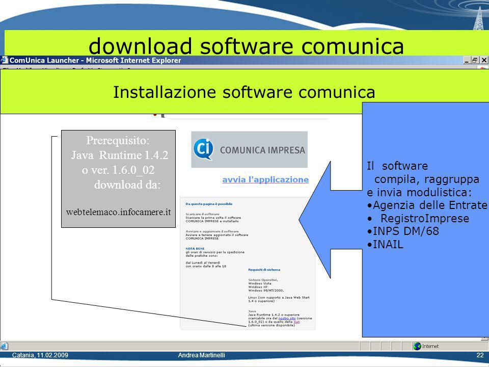 Catania, 11.02.2009Andrea Martinelli22 download software comunica Installazione software comunica Il software compila, raggruppa e invia modulistica: