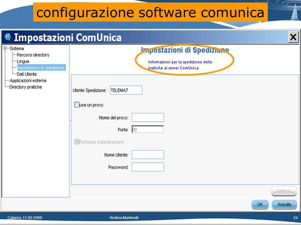 Catania, 11.02.2009Andrea Martinelli24 configurazione software comunica