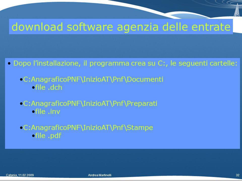 Catania, 11.02.2009Andrea Martinelli32 Dopo linstallazione, il programma crea su C:, le seguenti cartelle: C:AnagraficoPNF\InizioAT\Pnf\Documenti file.dch C:AnagraficoPNF\InizioAT\Pnf\Preparati file.inv C:AnagraficoPNF\InizioAT\Pnf\Stampe file.pdf download software agenzia delle entrate